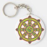 Buddhist Dharma Chakra Basic Round Button Keychain