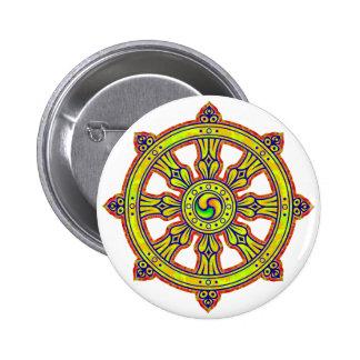 Buddhist Dharma Chakra Pinback Button