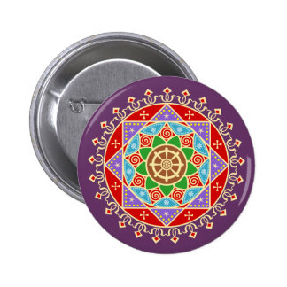 Buddhist Dharma Wheel Mandala Pinback Buttons