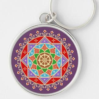 Buddhist Dharma Wheel Mandala Keychain