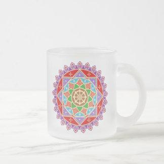 Buddhist Dharma Wheel Mandala 10 Oz Frosted Glass Coffee Mug
