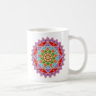 Buddhist Dharma Wheel Mandala Mug