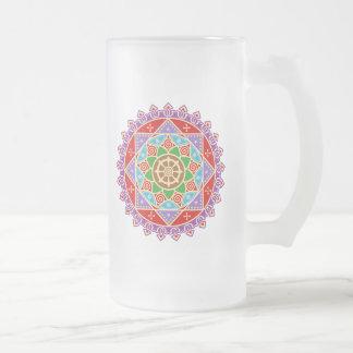 Buddhist Dharma Wheel Mandala 16 Oz Frosted Glass Beer Mug
