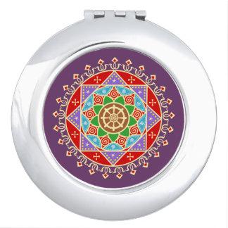 Buddhist Dharma Wheel Mandala Mirrors For Makeup