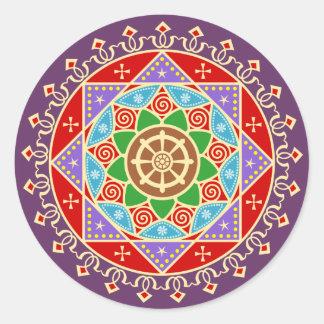 Buddhist Dharma Wheel Mandala Round Sticker