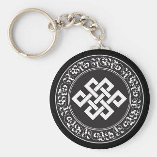 Buddhist Endless Knot Basic Round Button Keychain