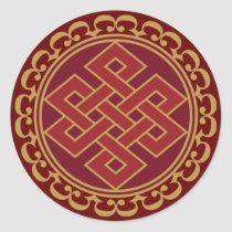 Buddhist Endless or Eternal Knot Pattern Classic Round Sticker