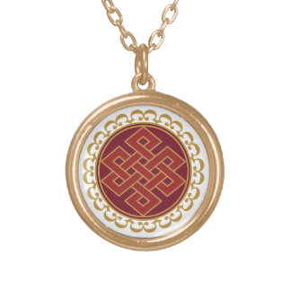 Buddhist Endless or Eternal Knot Pattern Round Pendant Necklace
