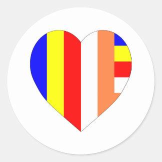 Buddhist Flag Heart Classic Round Sticker