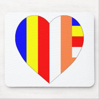 Buddhist Flag Heart Mouse Mat