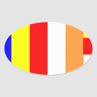 Buddhist Flag Oval Sticker