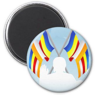 Buddhist_Flags 2 Inch Round Magnet