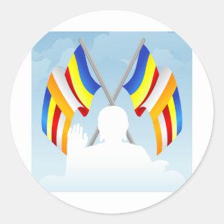 Buddhist_Flags Classic Round Sticker