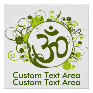 Buddhist Floral Green Om Poster