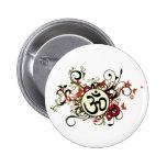 Buddhist Floral Om Button