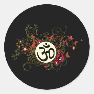 Buddhist Floral Om Classic Round Sticker