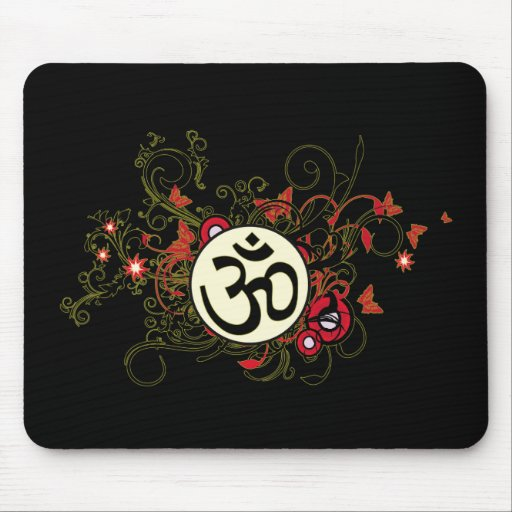 Buddhist Floral Om Mouse Mats