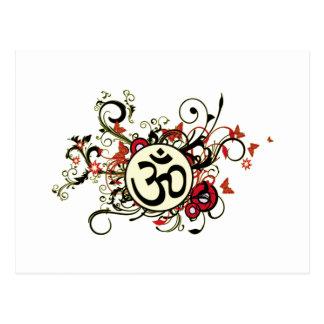 Buddhist Floral Om Post Card