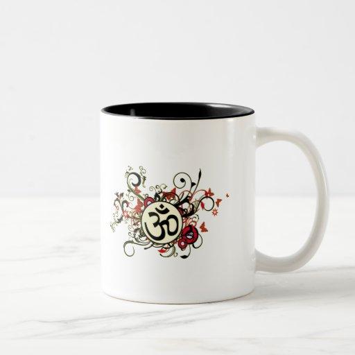 Buddhist Floral Om Two-Tone Coffee Mug