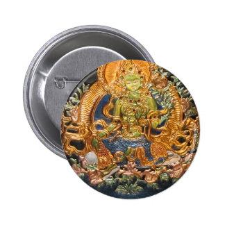 BUDDHIST GODDESS GREEN TARA METALLIC INLAY BUTTON