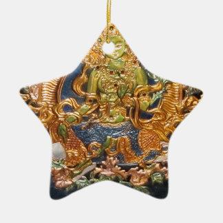 BUDDHIST GODDESS GREEN TARA METALLIC INLAY CHRISTMAS TREE ORNAMENT