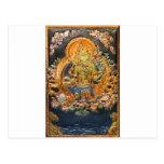 BUDDHIST GODDESS GREEN TARA METALLIC INLAY POSTCARD