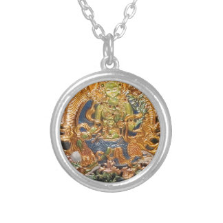 BUDDHIST GODDESS GREEN TARA METALLIC INLAY SILVER PLATED NECKLACE