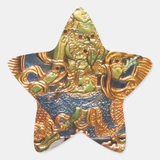 BUDDHIST GODDESS GREEN TARA METALLIC INLAY STAR STICKER