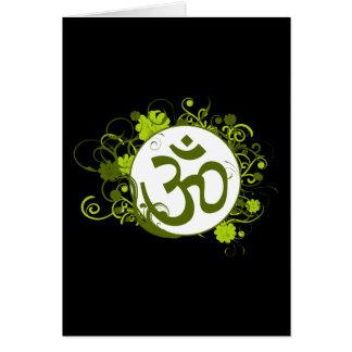 Buddhist Green Floral Om Card