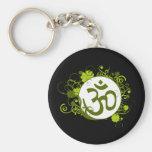 Buddhist Green Floral Om Keychains