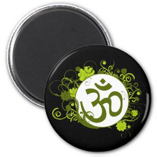 Buddhist Green Floral Om Magnet