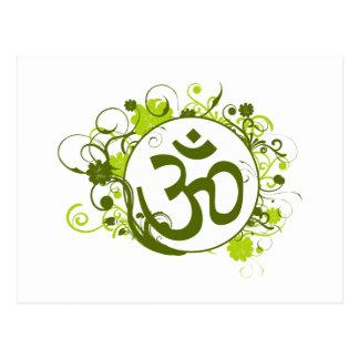 Buddhist Green Floral Om Post Card