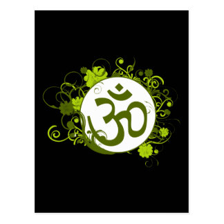 Buddhist Green Floral Om Post Cards