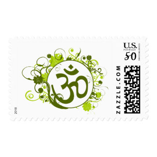 Buddhist Green Floral Om Postage