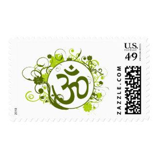 Buddhist Green Floral Om Postage Stamp