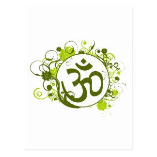Buddhist Green Floral Om Postcard