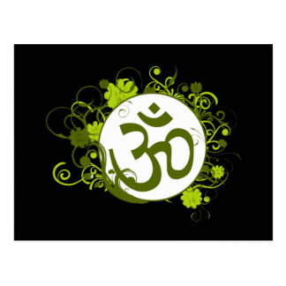 Buddhist Green Floral Om Postcards