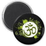 Buddhist Green Floral Om Refrigerator Magnets