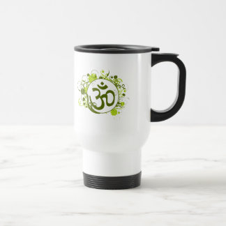 Buddhist Green Floral Om Travel Mug