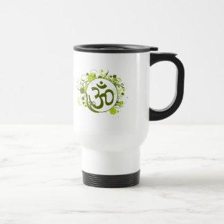 Buddhist Green Floral Om Travel Mug