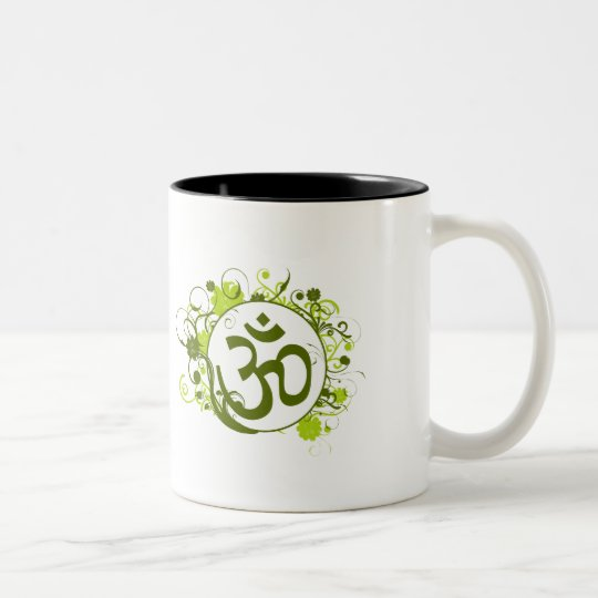 Buddhist Green Floral Om Two-Tone Coffee Mug