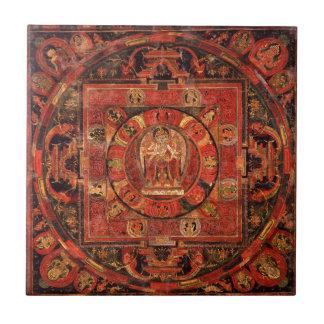Buddhist Mandala of Compassion Ceramic Tile