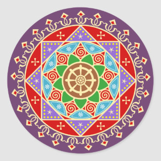 Buddhist Mandala Pattern with Dharma Wheel Classic Round Sticker