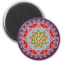 Buddhist Mandala Pattern with Dharma Wheel Magnet
