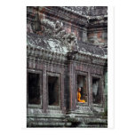 Buddhist monk meditating Angkor Wat temple Postcards