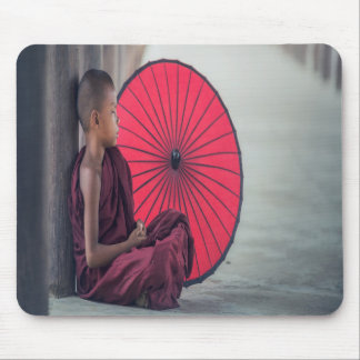 Buddhist Monk Red Umbrella Zen Mouse Pad