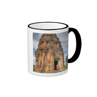 Buddhist monk standing in doorway of temple ringer coffee mug