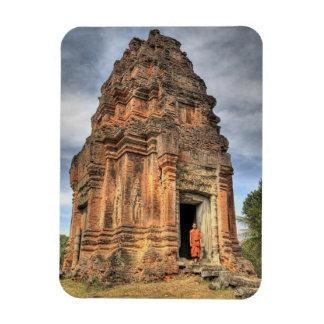 Buddhist monk standing in doorway of temple rectangular photo magnet