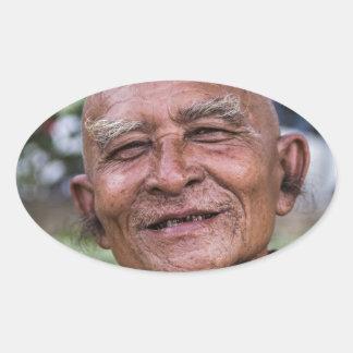 Buddhist Monk Oval Sticker