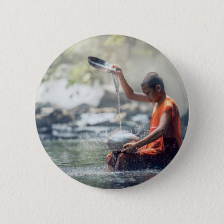 Buddhist Monk Washing Implements Pinback Button